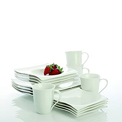 Maxwell & Williams Designer Homewares RP00916 Basics Dinnerware Set, Standard, White - Maxwell and Williams White Basics Motion 16-piece Dinner Set is a practical and beautiful addition to any home and makes a thoughtful gift Softer shapes and a flowing modern look make the White Basics Motion Collection perfect for everyday use or more formal occasions Includes 4 each: dinner plate, side plate, bowl and mug - kitchen-tabletop, kitchen-dining-room, dinnerware-sets - 41rSSk7baoL. SS400  -