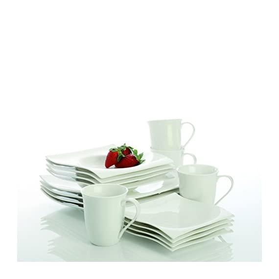 Maxwell & Williams Designer Homewares Basics Dinnerware Set, Standard, White - Maxwell and Williams White Basics Motion 16-piece Dinner Set is a practical and beautiful addition to any home and makes a thoughtful gift Softer shapes and a flowing modern look make the White Basics Motion Collection perfect for everyday use or more formal occasions Includes 4 each: dinner plate, side plate, bowl and mug - kitchen-tabletop, kitchen-dining-room, dinnerware-sets - 41rSSk7baoL. SS570  -