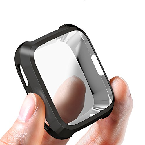 Fitbit Versa Case, SIRUIBO TPU Plated Screen Protector Rugged Cover [Scratch-Proof] All-around Protective Bumper Shell for Fitbit Versa Smartwatch, Black