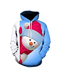 Coupondeal Mens 3D Printed Christmas Pullover Long Sleeve Hooded Sweatshirt Tops Blouse(Blue,XXXL)