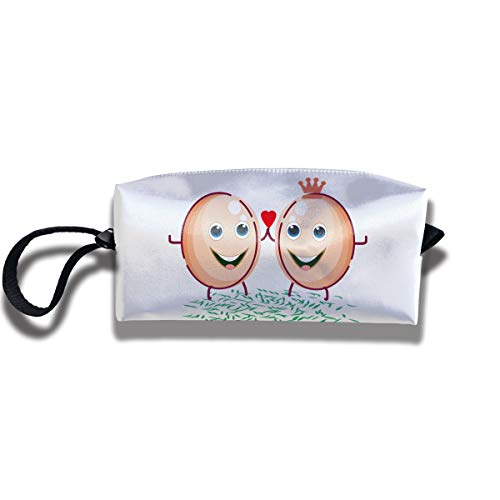 Cosmetic Bags With Zipper Makeup Bag Egg King And Queen Heart Middle Wallet Hangbag Wristlet Holder ()