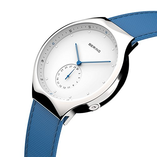 BERING Time 70142-604 Mens Smart Traveler Collection Watch with Calfskin Band and scratch resistant sapphire crystal. Designed in Denmark.