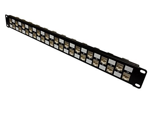Panel Connect Patch Cross - R.J. Enterprises - No Punch Down-Cat6 Patch Panel (Shielded) 568A/B, Special Design,TOOL-LESS (Feed Through), 24 Port - SDPP-24-C6S-Data Center- Telecom Room