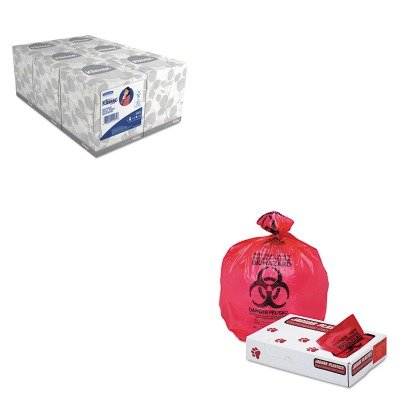 (KITJAGIW3339RKIM21271 - Value Kit - Jaguar Plastics IW3339R Red Healthcare, Infectious Waste and Infectious Can Liners, 33 Gallons (JAGIW3339R) and KIMBERLY CLARK KLEENEX White Facial Tissue)