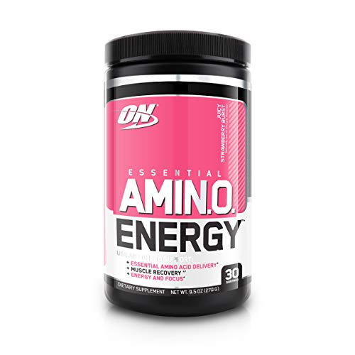 Optimum Nutrition Amino Energy - Pre Workout with Green Tea, BCAA, Amino Acids, Keto Friendly, Green Coffee Extract, Energy Powder - Juicy Strawberry Burst, 30 Servings