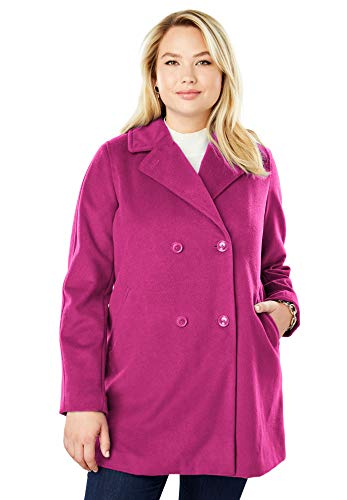Jessica London Women's Plus Size A-Line Peacoat - Berry, 14