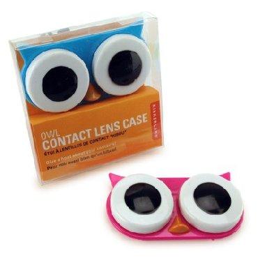 Kikkerland Owl Contactez Lens Case, couleurs assorties, Rose / Bleu / Vert
