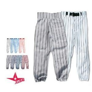 YOUTH Pin Stripe Baseball/Softball Pants (Medium Weight, Double Knees, Zipper, Belt Loops, Back Pocket) (White/Navy Pinstripes, Youth Small (22-24))