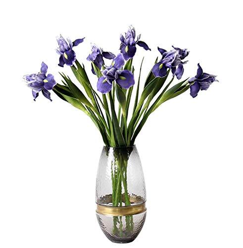 HTFGNC 8Pcs Artificial Silk Flower Bridal Real Touch Iris Flower for Home Wedding Decor Wreath Plants Table Accessory (Purple)