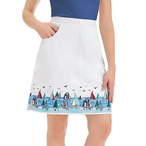 Collections Women's Cotton White Skort Shorts with Sailboat Border Print Nautical Apparel, White, Large