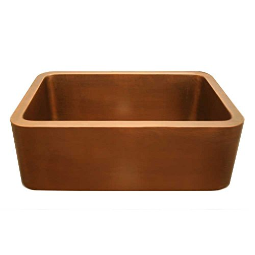Whitehaus WH2519COFC-SMOOTH COPPER Copperhaus Rectangular Undermount Sink With Smooth Front Copperhaus Rectangular Copper Sink