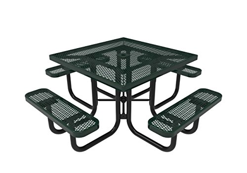 Coated Outdoor Furniture TSQ-GRN Top Square Portable Picnic Table, 46-inch, Green For Sale