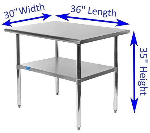 AmGood Stainless Steel Work Table with Undershelf | Food Prep NSF | Utility Work Station | All Sizes (36