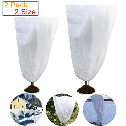 Onene 2 Pack Drawstring Plant Covers, Warm Plant Protection Cover Bags, Frost Cloth Blanket Protecting Fruit Tree Potted Plants from Freezing Animals Eating, 2 Size