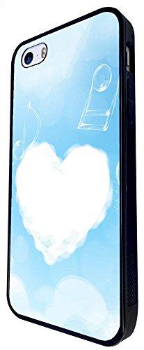 985 - Cool Fun Cute Clouds Music Heaven Love Heart Design iphone SE - 2016 Coque Fashion Trend Case Coque Protection Cover plastique et métal - Noir