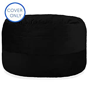 Premium 4-Feet Replacement Cover in Limo Black - Fits Big Joe, Comfort Research, Lovesac, Chill Bag, Sofa Sack, Cozy Sack & Panda Sleep Bean Bag Chairs - Machine Washable - Plush & Durable Velour