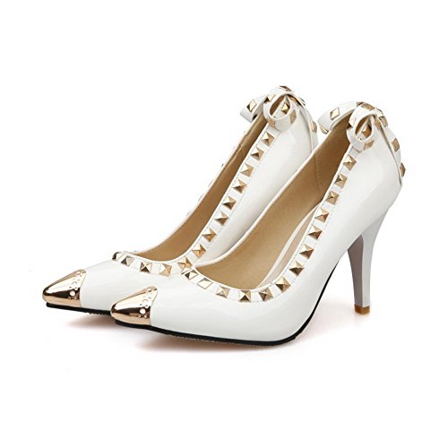 VogueZone009 Women's Spikes-Stilettos Solid Pull-On Pointed Closed Toe Pumps-Shoes White yknCfLav