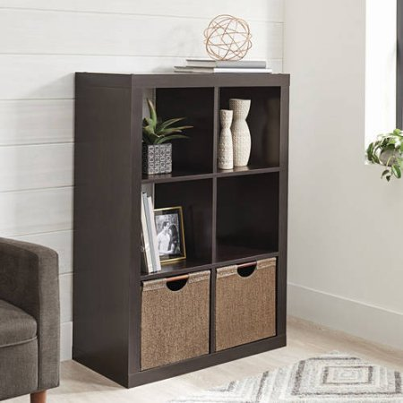 6 Shelf Cabinet (Better Homes and Gardens Bookshelf Square Storage Cabinet 6-Cube Organizer Espresso with Set of 2 Fabric Storage Bin Taupe)