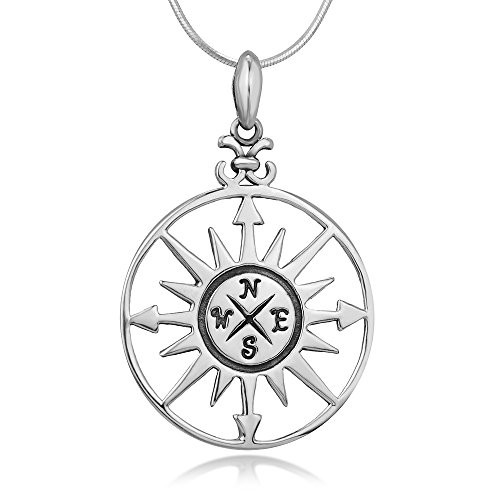 925 Sterling Silver Compass Navigation Follow Your Dreams Round Pendant Necklace 18 inches