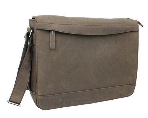 Vagabond Traveler Full Grain Leather Messenger Laptop Bag L67. Distress by Vagabond Traveler
