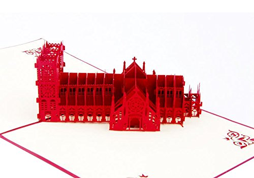 Ocharzy 3D Pop Up Greeting Card Handmade Anniversary Birthday Party Gift (Westminster Cathedral)]()