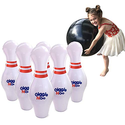 GIGGLE N GO Inflatable Bowling Pins - Giant Outdoor Games for Kids and Family. Great for Indoor or Outdoor Games. Our Kids Bowling Set Inc 6, 27in Bowling Pins, 1, 24in Ball and 1 Pump -