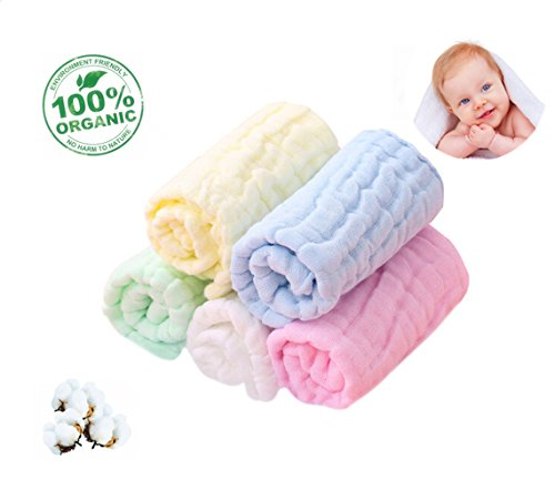"Baby Washcloths Organic Baby Face Towels - Extra Soft Newborn Bath Washcloths - Cotton Baby Wipes Reusable Muslin Washcloth for Sensitive Skin Baby Registry As Shower Gifts for Baby 10""×10""5Colors by 3FALY"