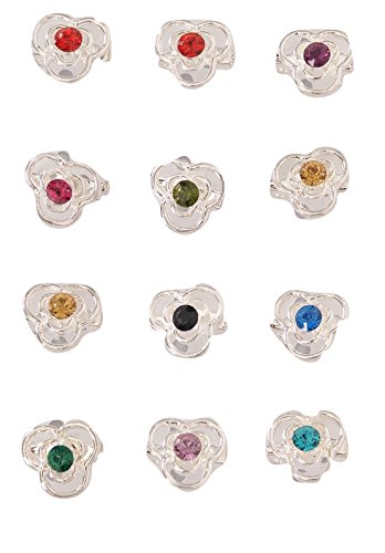 12 pcs Assorted Rhinestone Fashion Flower Brooches Pin Set (Lucky (Petal Flower Pin Brooch)