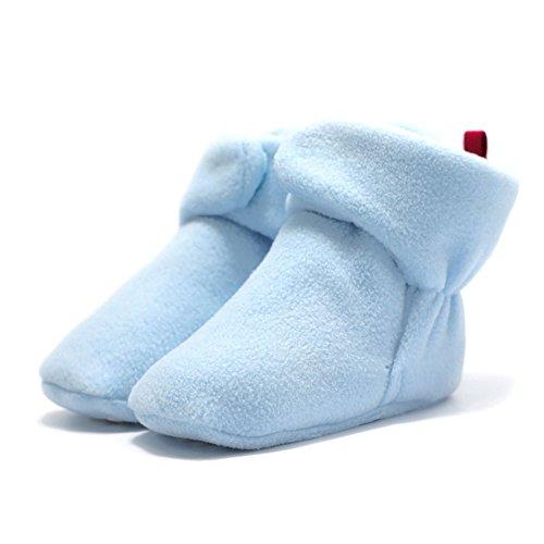 Haodasi Baby Schuhe Junge Mädchen Kleinkind Anti-Rutsch Hohe Stiefel Erstes Gehen Schuh 0-24 Monate 12 Farbe Hellblau