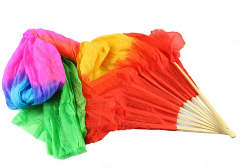 Estone Hand Made Colorful Belly Dance Dancing Silk Bamboo Long Fans Veils 4 Colors
