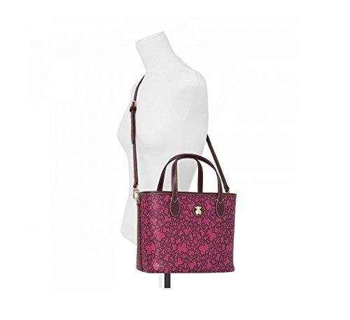 Bolso Capazo Tous pequeño Kaos Mini de Lona en color burdeos