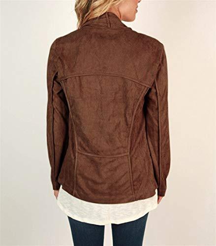Brown abrigo S Invierno irregular Color Chaqueta manga Mujer abierta ZFFde Primavera primavera larga de suelta rebeca tamaño S6Iaw