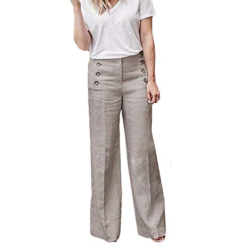 YKARITIANNA Women and Girls Loose Fashion Pants Casual Loose Elastic Button Waist Wide Leg Pants