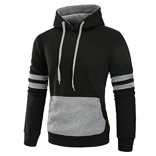 Corriee Men Hoodies Mens Autumn Winter Fashion Long Sleeve Splicing Pocket Casual Pullover O-Neck Hooded Sport Blouse by Corriee Men Hoodies