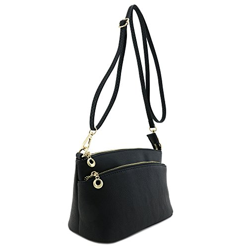 Zip Bag Pocket Crossbody Versatile Black Double aw8xqTfdw