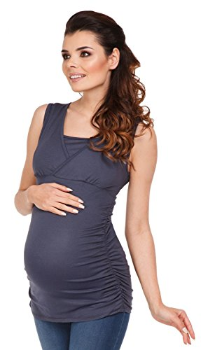 Zeta Ville - Mujeres Maternidad Enfermería Envolver Frente Camiseta M-3xl - 371c Azul Gris