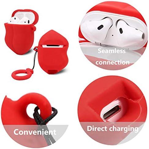 OOTSR Estuche Protector Compatible con Apple Airpods 1 y 2 Estuche de Carga Cubierta de Silicona Suave con Forma de Beso para Airpods 1 2 Auricular Apple con Caja Llavero