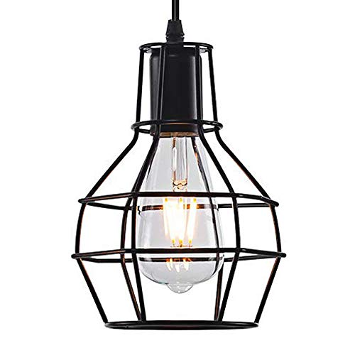 OYI Metal Cage Pendant Light, Vintage Industrial Ceiling Lamp Rustic Hanging Wire Cage Guard Light Fixture for Studio Dinning Room Kitchen Island Restaurant Cafe