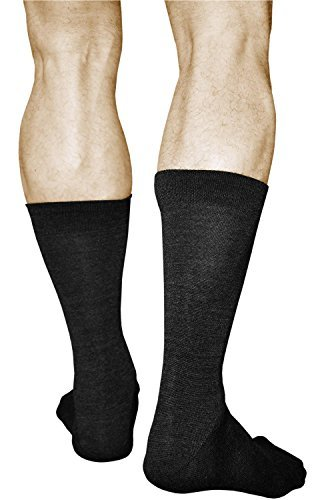 2 Pairs Men's MERINO WOOL Socks, Best Quality Warm Mid Calf Length, Vitsocks Classic, 11-11.5, black