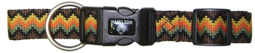 Hamilton 1-Inch Adjustable Dog Collar, Large, Fits 18-Inch by 26-Inch with Brushed Hardware Ring, Earthtone Weave