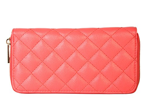 rimen-co-womens-fashion-quilted-singe-zipper-wallet-ch-709-coral