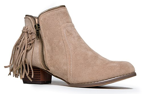 J. Adams Bailey Fringe Boot - Closed Toe Low Heel Western Cowboy Ankle (Cowboy Heels)
