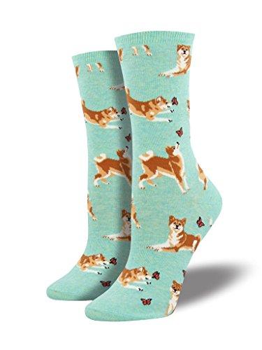 "Socksmith Womens Novelty Crew Socks ""Shiba Inu"" (Mint Heather)"