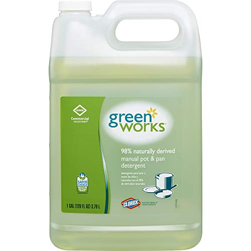 Natural Dish Liquid Soap - Green Works Manual Pot & Pan Dishwashing Liquid, 128 Ounces (30388)