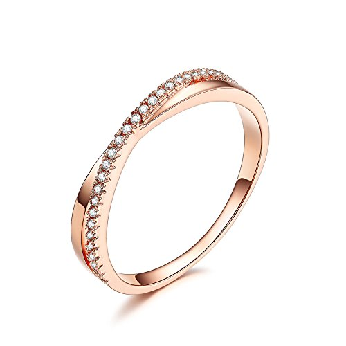 DIFINES Redbarry Fashion Criss Cross X 18k Rose Gold Plated CZ Diamond Promise Eternity Rings Wedding Band, Size 7