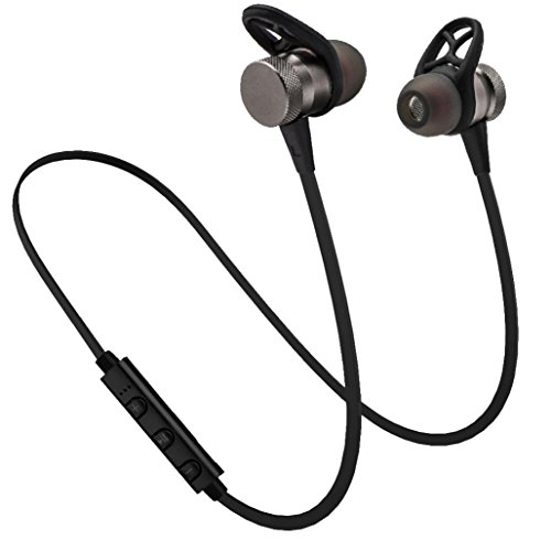 Tuscom Metal Magnet Wireless Bluetooth Earphone Headset Headphone for Samsung Galaxy Note 8,iPhone x/8, Earphone with 55Mah Rechargeable Lithium Battery (Upgrade/Gray)