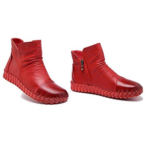 Costura hecho CAMEL Casual gruesos Talón cremallera caliente RED a zapatos plano 35 peluche piel Botas 37 Mujeres mano Retro corto I4nFwpx