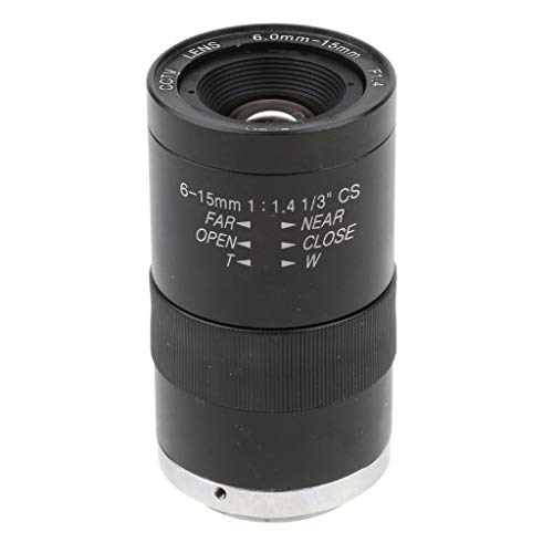 Prettyia CCTV Secure Camera 6-15mm Varifocal Lens Manual IRIS Zoom CS Mount Format 1/3'' (Black) ()