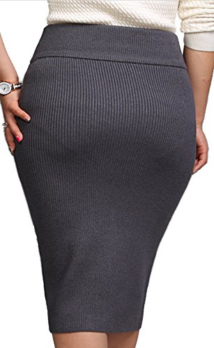 Helan Mujeres color puro larga delgada que hace punto de la falda Gris