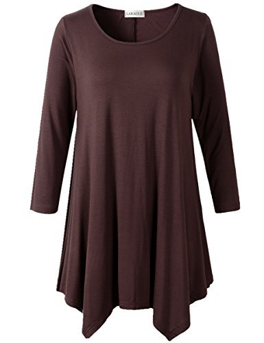 LARACE Lanmo Women Plus Size 3/4 Sleeve Tunic Tops Loose Basic Shirt (L, Coffee) -
